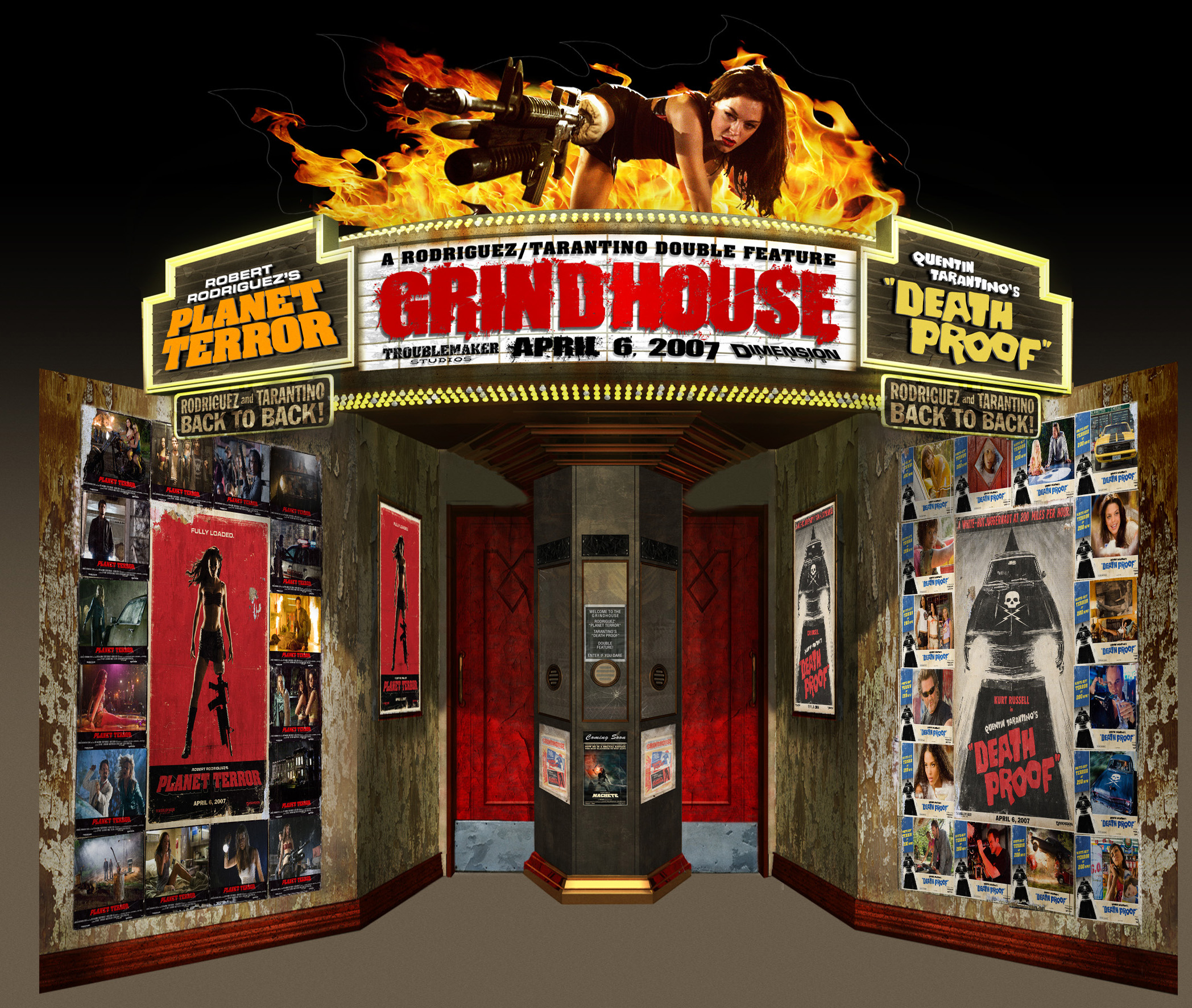 GRINDHOUSE STANDEE puts a Grindhouse In Your Theater!!!