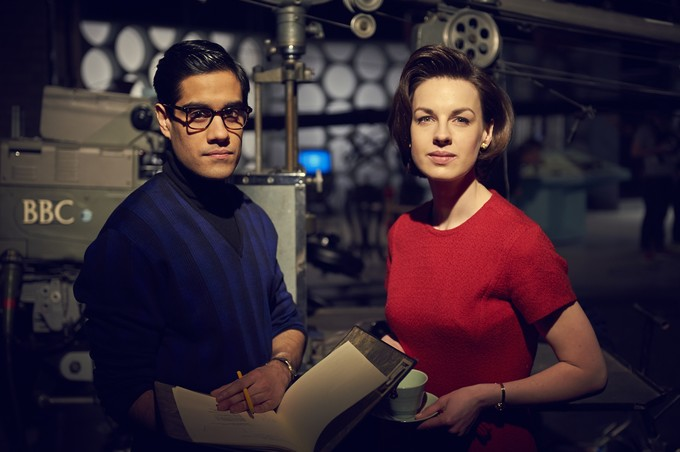 (l-r) Sacha Dhawan and Jessica Raine as Waris Hussein and Verity Lambert