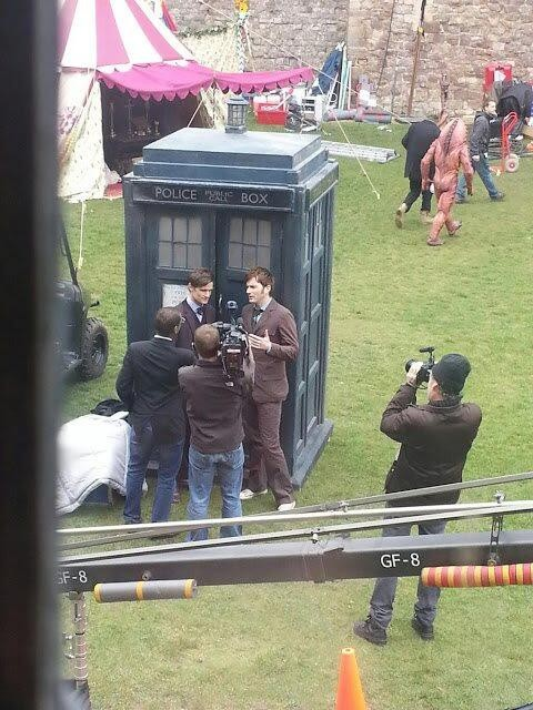 Matt Smith and David Tennant in costume as the 10th and 11th Doctors, filming DW's 50th Anniversary special.