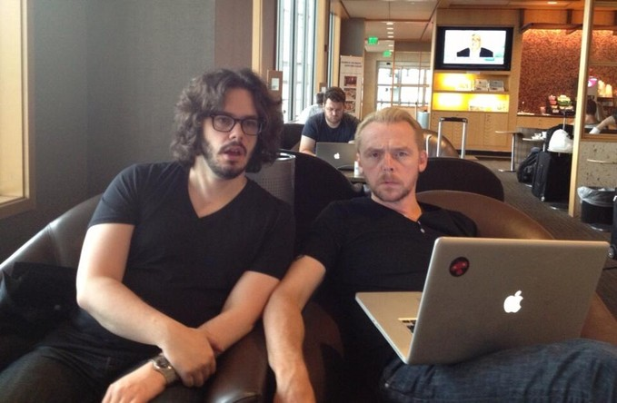 Edgar Wright and Simon Pegg in Austin