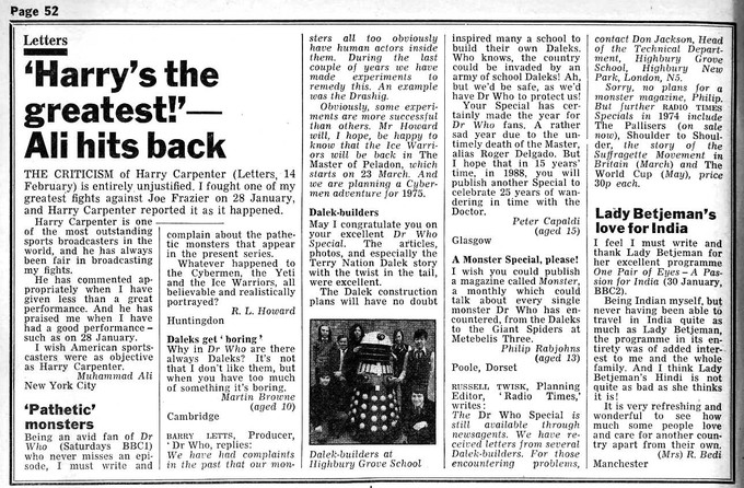 DOCTOR WHO - 15 year old Peter Capaldi letter to Radio Times