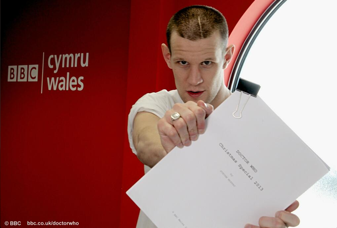 Matt Smith at read through of his final episode