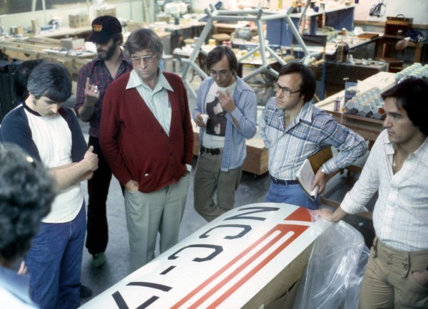 Roddenberry and team surveying an Enterprise component