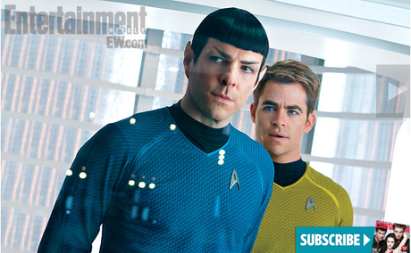 Spock (Zachary Quinto) and Kirk (Chris Pine) in  STAR TREK INTO DARKNESS