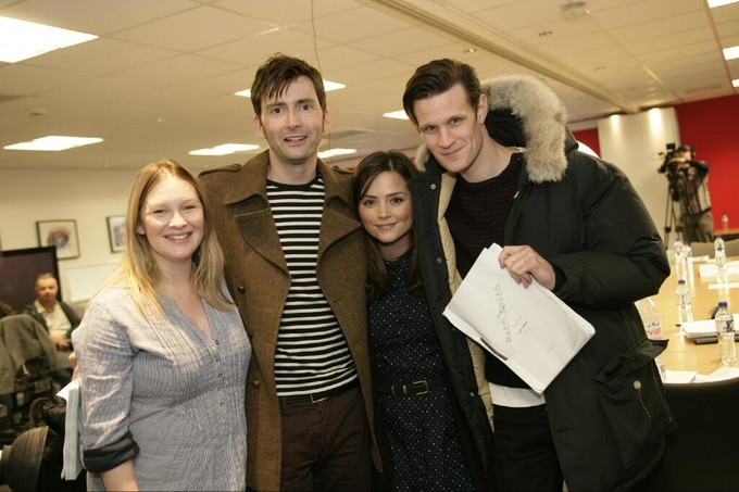 (l-r) Joanna Page, David Tennant, Jenna-Louise Coleman, Matt Smith