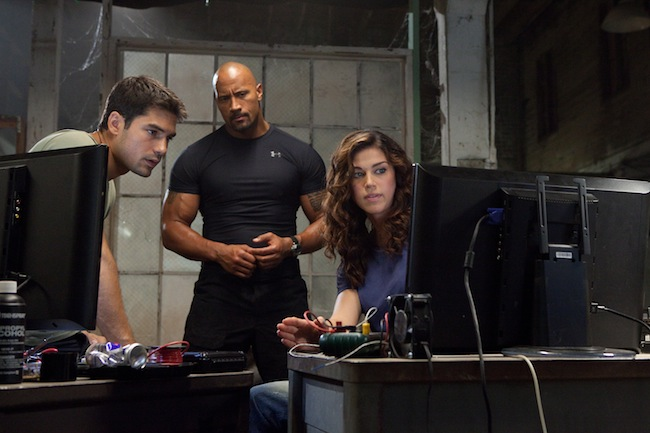 "D.J. Cotrona, Dwayne ""The Rock"" Johnson and Adrianne Palicki in G.I. JOE: RETALIATION"