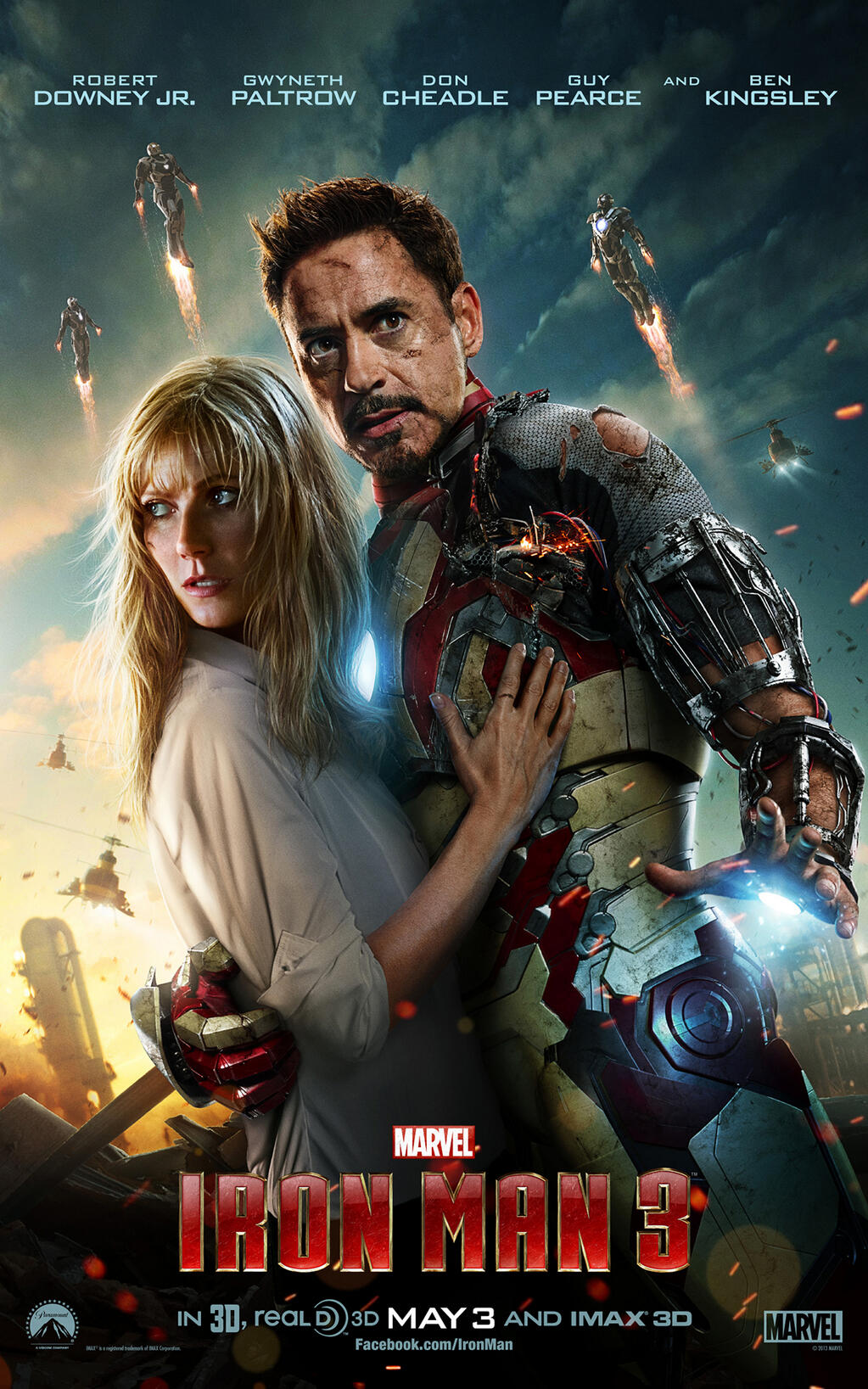 IRON MAN 3 One Sheet featuring Tony Stark and Pepper Potts