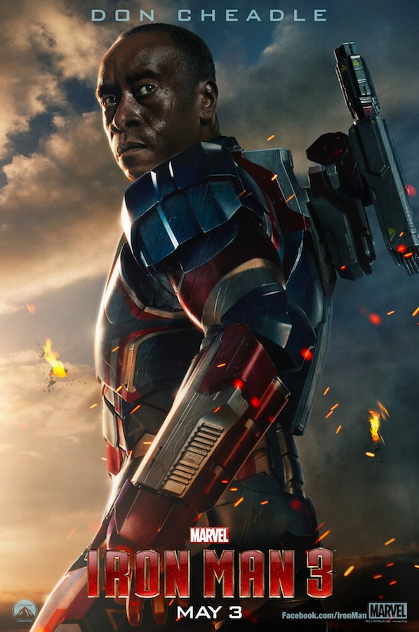 Don Cheadle as the Iron Patriot in IRON MAN 3 Character One Sheet