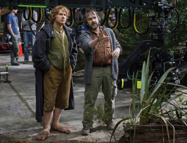 Martin Freeman and Peter Jackson on the set of THE HOBBIT