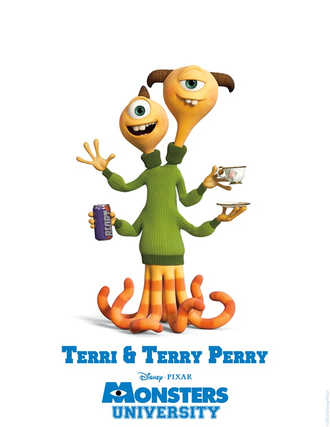Terri and Terry Perry MONSTERS UNIVERSITY Character Poster