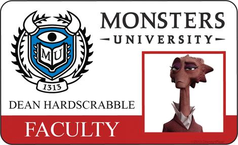 Dean Hardscrabble Faculty ID - MONSTERS UNIVERSITY