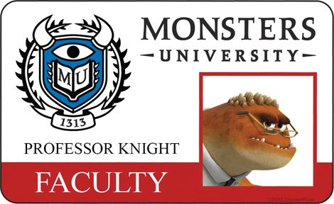 Professor Knight Faculty ID - MONSTERS UNIVERSITY