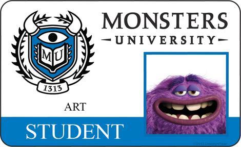 Art Student ID - MONSTERS UNIVERSITY