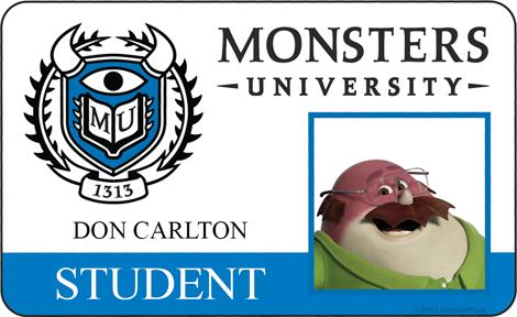 Don Carlton Student ID - MONSTERS UNIVERSITY