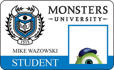 Mike Wazowski Student ID - MONSTERS UNIVERSITY