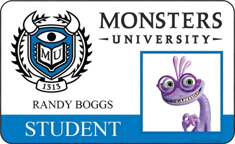 Randy Boggs Student ID - MONSTERS UNIVERSITY
