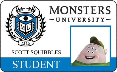 Squishy Student ID - MONSTERS UNIVERSITY