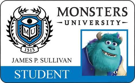 James P. Sullivan Student ID - MONSTERS UNIVERSITY