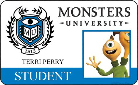 Terri Perry Student ID - MONSTERS UNIVERSITY