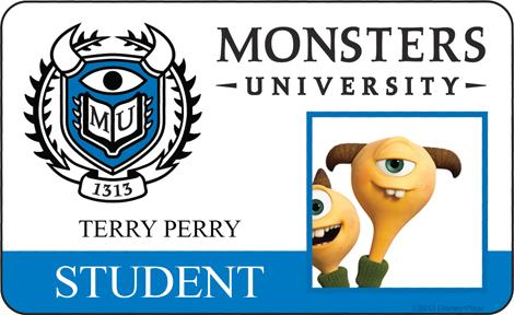 Terry Perry Student ID - MONSTERS UNIVERSITY