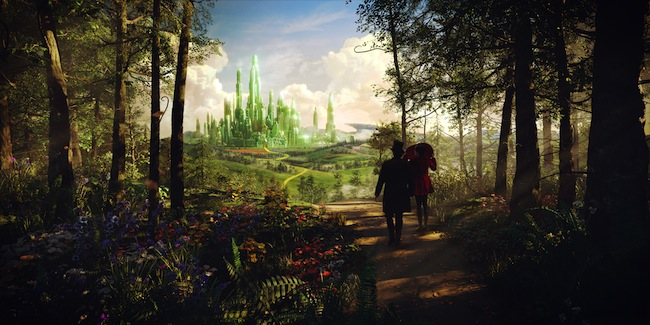 Oz (James Franco) and Theodora (Mila Kunis) approaching the Emerald City in OZ THE GREAT AND POWERFUL