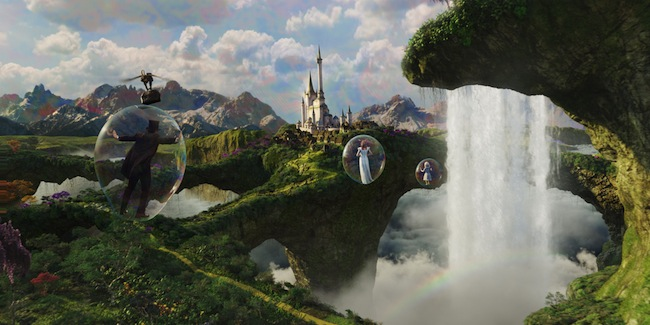 Oz (James Franco) and Glinda the Good (Michelle Williams) travel by bubbles in OZ THE GREAT AND POWERFUL
