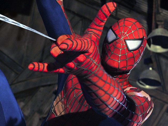 Close-up of Spider-Man suit from SPIDER-MAN 2