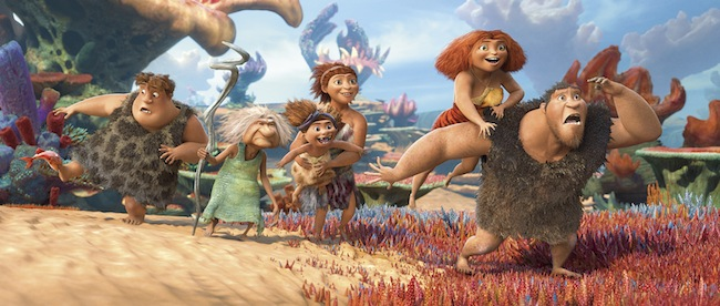 The members of the Croods family in THE CROODS