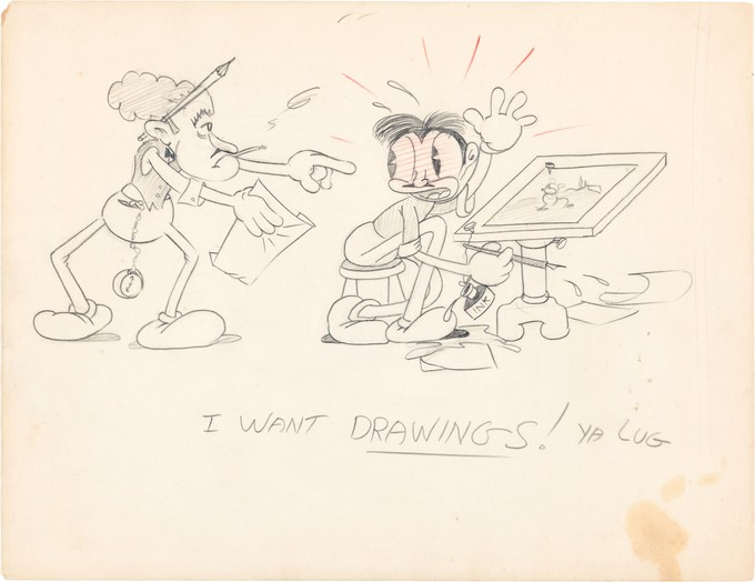 UB Iwerks & Walt Disney working together in the late 1920's