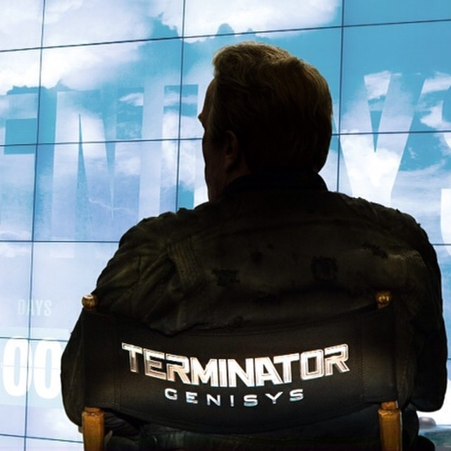 Schwarzenegger on TERMINATOR GENISYS set