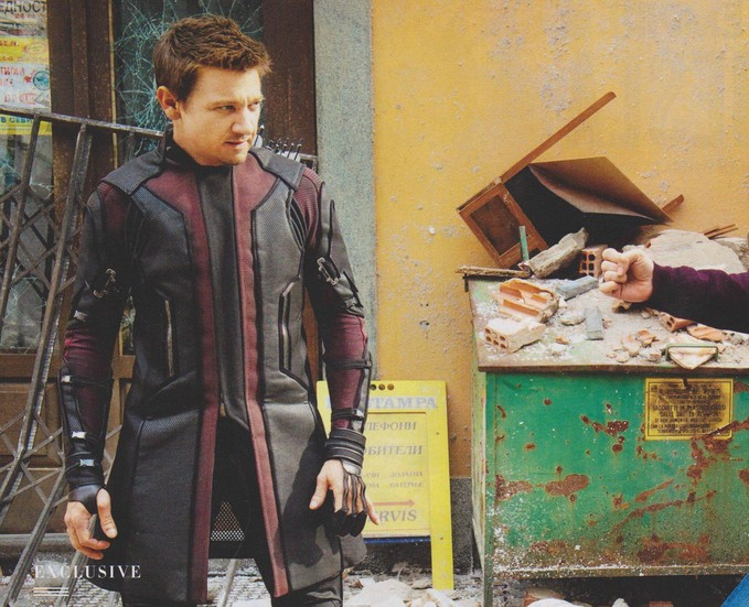 Jeremy Renner filming AVENGERS: AGE OF ULTRON