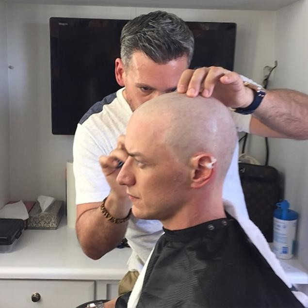 james mcavoy just shaved his head to play charles xavier in the next x men movie. Black Bedroom Furniture Sets. Home Design Ideas
