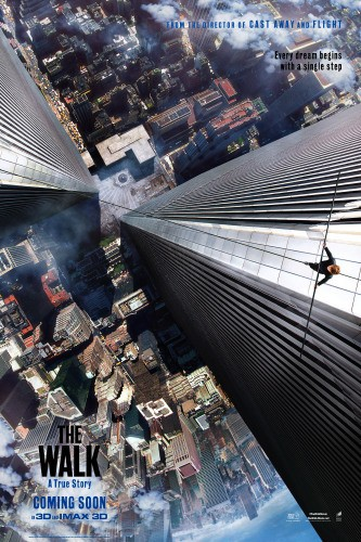 An aerial shot of a man holding a balancing stick walking on a tight rope between the Twin Tower buildings in New York City. Movie Poster.