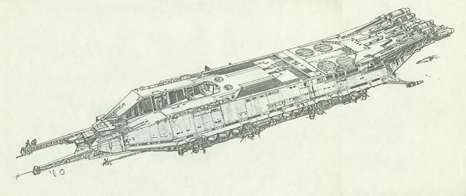 Battlestar developmental sketch (GALACTICA 1978)