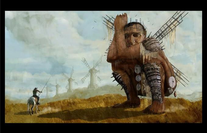 Art for Gilliam's DON QUIXOTE by Dave Warren