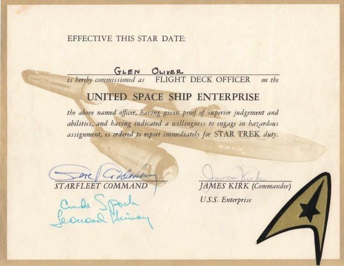 STAR TREK Flight Deck Certificate