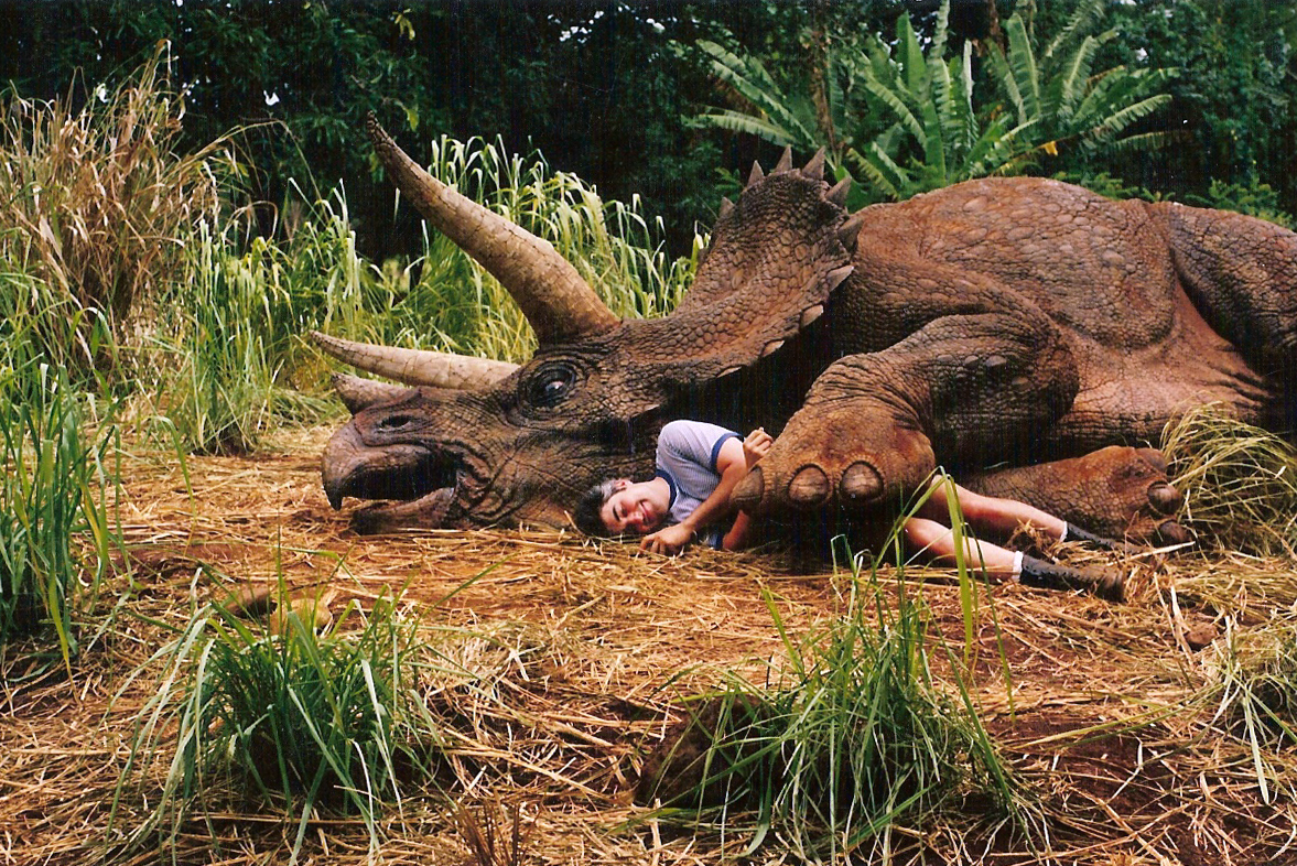 Shannon Shea Sleeps with the Triceratops from JURASSIC PARK.