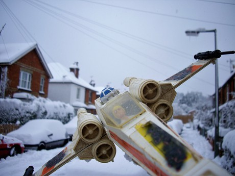 An X-Wing at Dawn in Snow