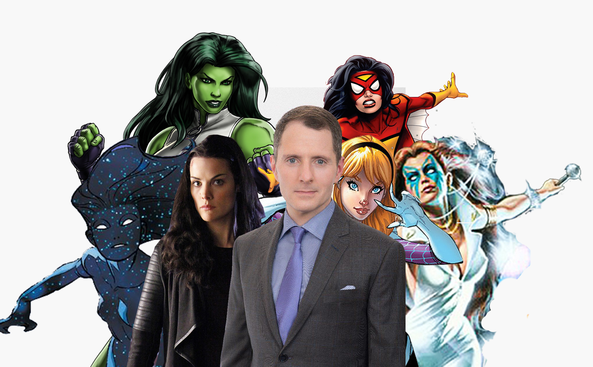 Allan Heinberg and some of the ladies of the Marvel Universe