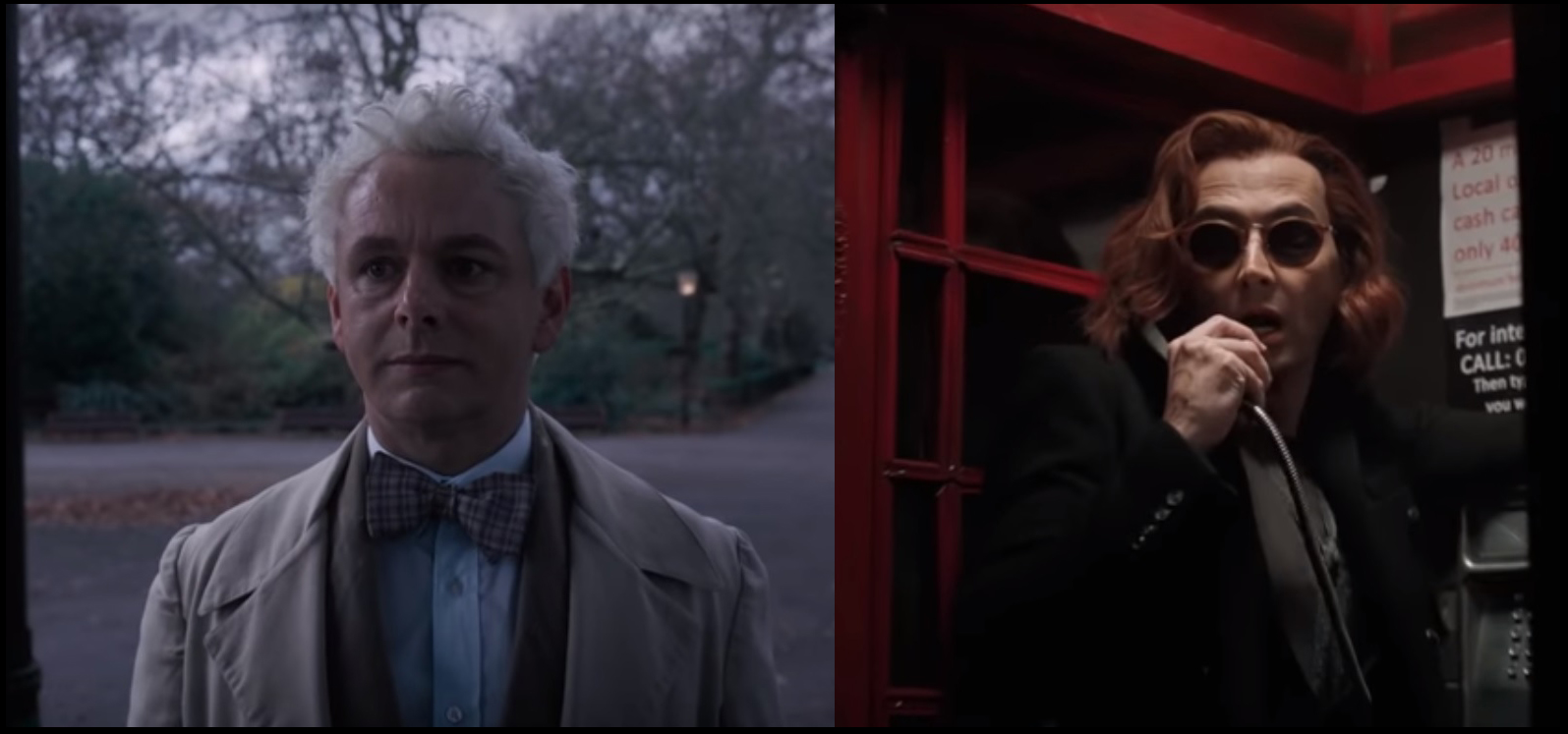 "Michael Sheen as Aziraphale and David Tennant as Crowley in ""Good Omens"""