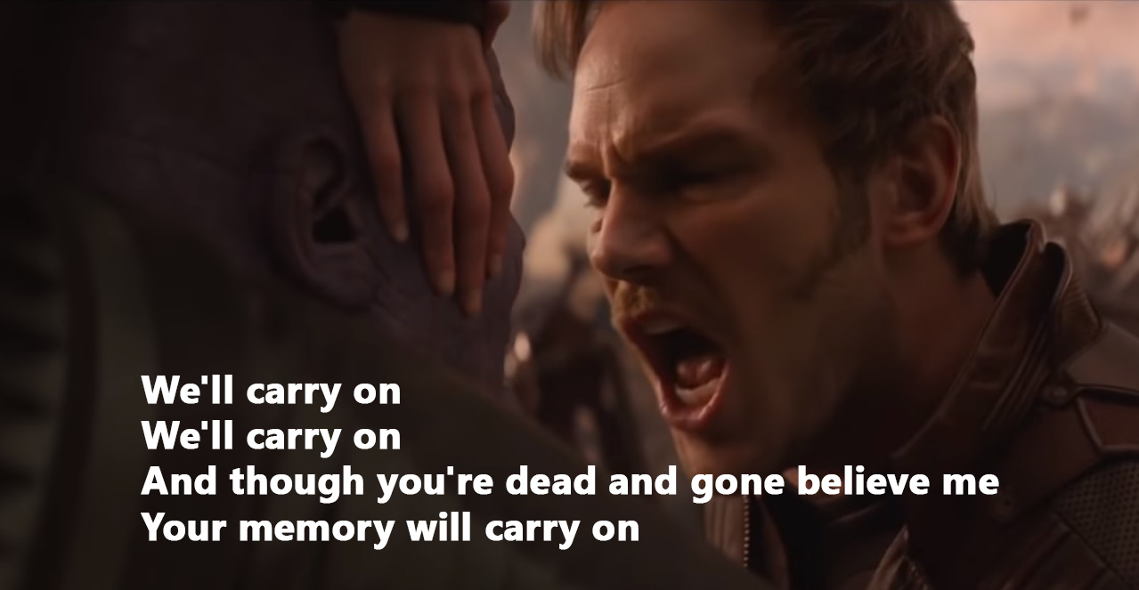 Starlord sings Thanos the best of My Chemical Romance