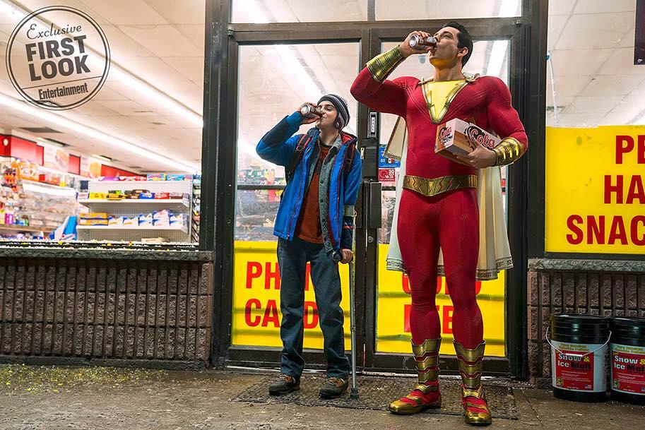 Jack Dylan Grazer as Freddy Freeman and Zachary Levi as Shazam