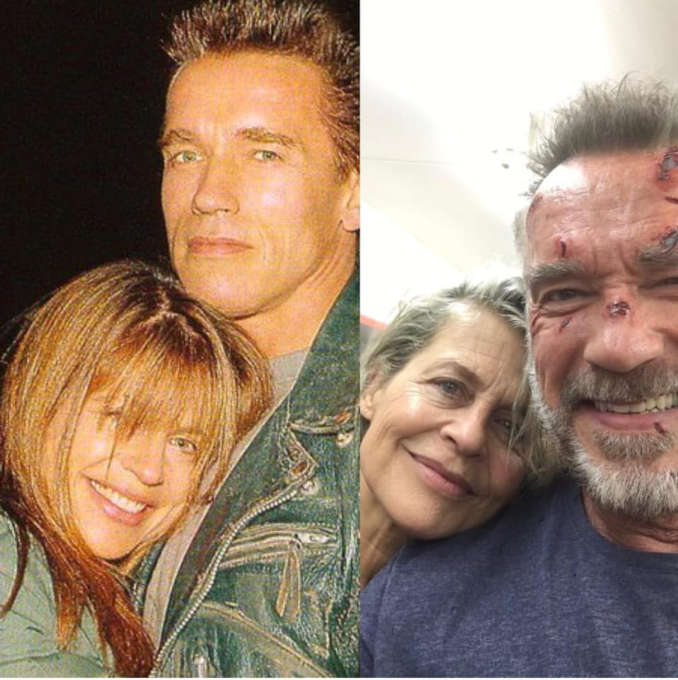 Linda Hamilton and Arnold Schwarzenegger on the sets of T2 (1990) and T5 (2018)