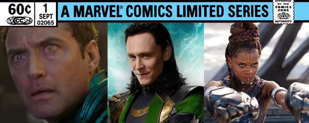 Jude law as Mar-Vell, Tom Hiddleston as Loki, and Letitia Wright as Shuri
