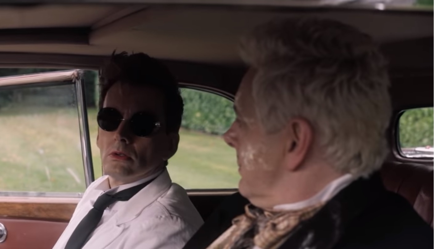 "David Tennant as Crowley and Michael Sheen as Aziraphale in ""Good Omens"""