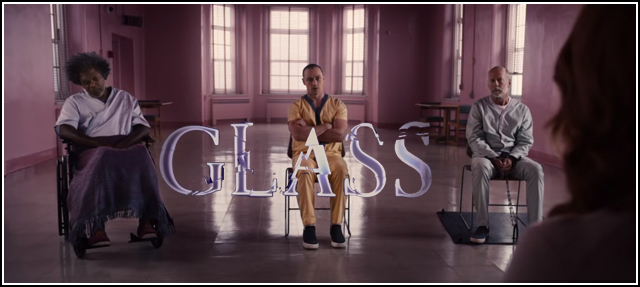 Samuel L. Jackson, James MacAvoy, Bruce Willis, and Sarah Paulson in GLASS