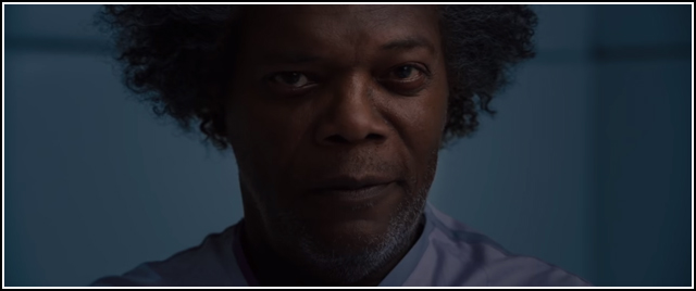 Samuel L. Jackson grinning as Mister Glass in GLASS