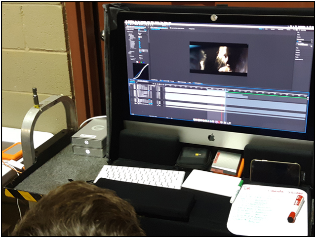Video Village editing bay on ALONG CAME THE DEVIL 2