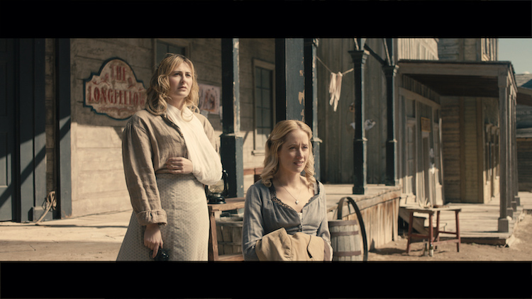 [L-R] Scout Taylor-Compton as Annabelle Angel and Danielle Gross as Mary Primm in the western/action film, APACHE JUNCTION, a Saban Films release. Photo courtesy of Saban Films.