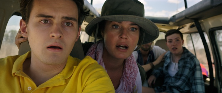 (L-R) Michael Johnston as Noah Halsey, Rebecca Romijn as Lauren Halsey, and Isabel Bassett as Zoe Halsey in the action thriller film, ENDANGERED SPECIES, a Lionsgate release. Photo courtesy of Lionsgate